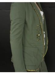 Sej Army Blazer med feminine diamond og guld detaljer